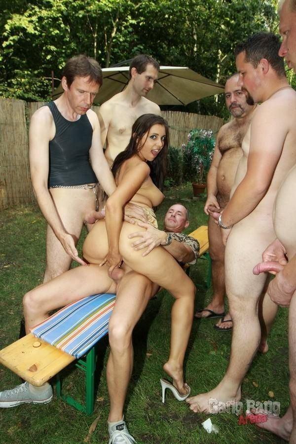 Wife outdoor gangbang