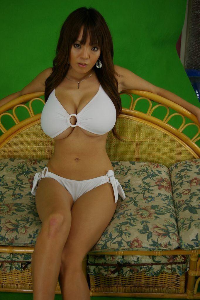 White bikini brunette