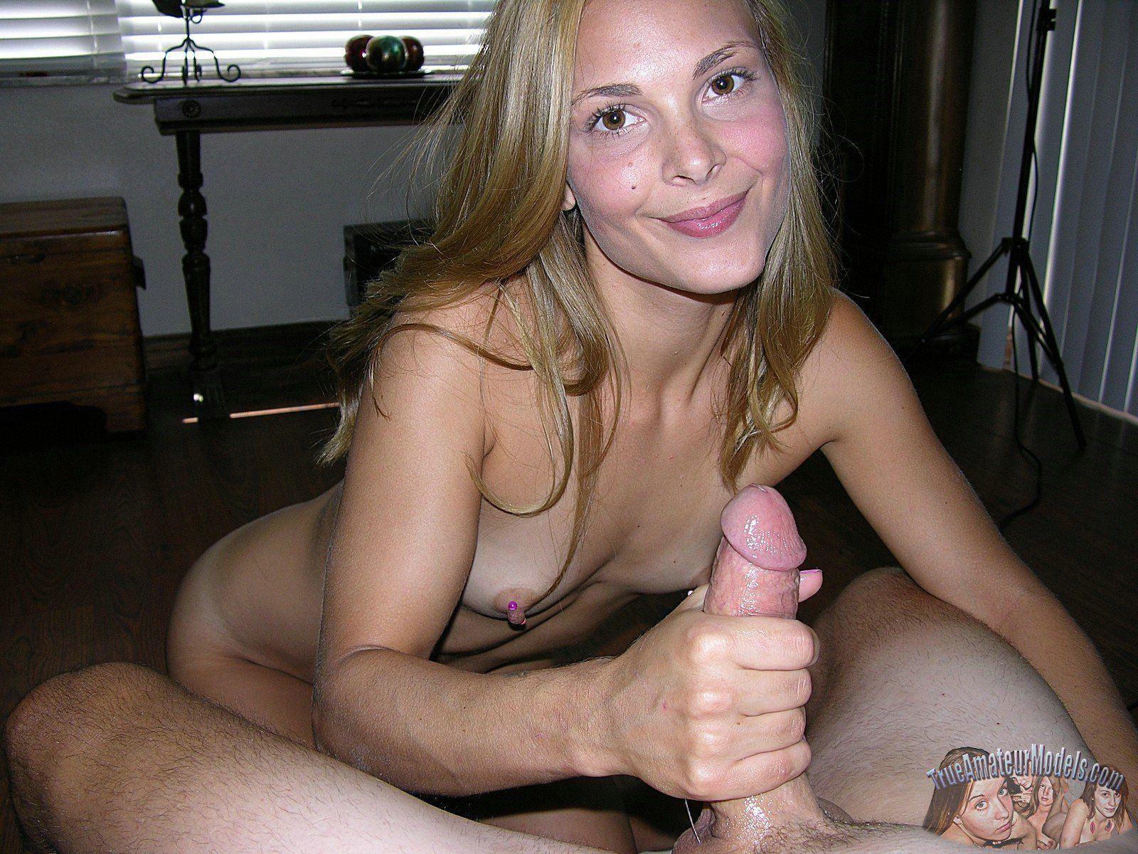 Blonde babe handjob