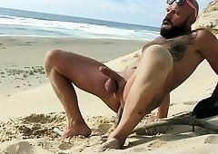 Butt thai handjob penis on beach