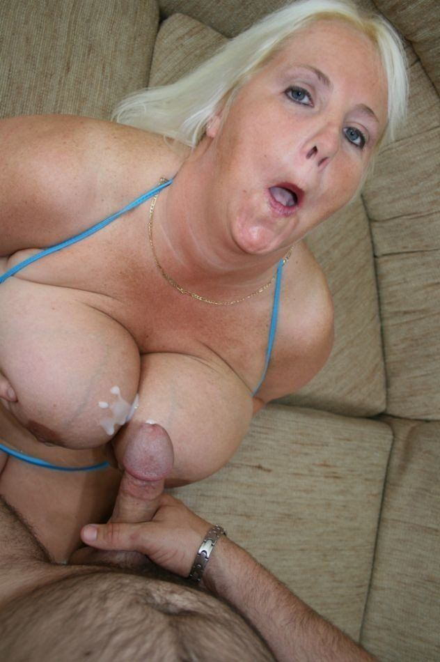 Chuby blonde milf sucking