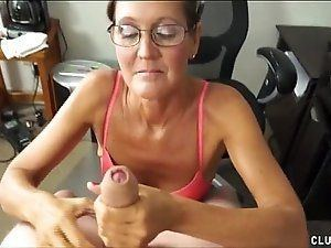 Hairy slut handjob dick and facial